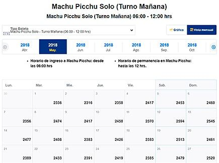Availability Ticket Machu Picchu