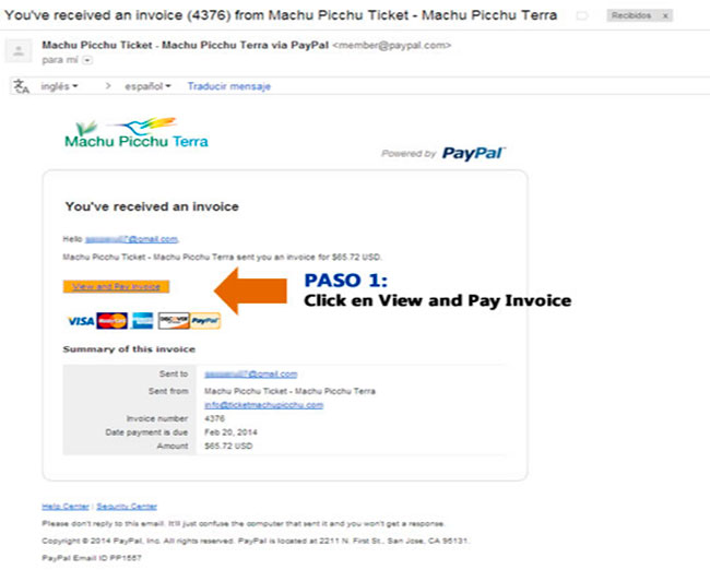 factura de pago Paypal