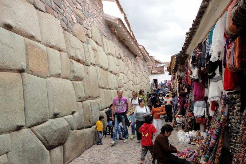 Tourists walking in cusco