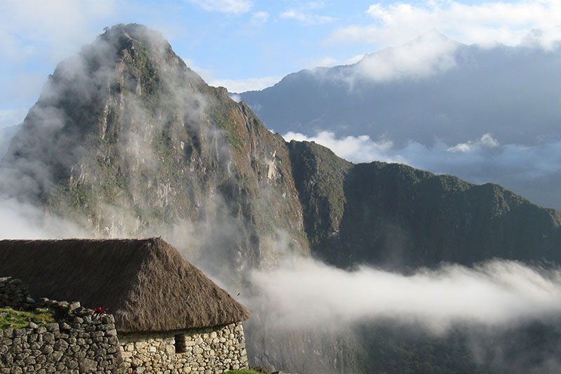 Fog in the mountain Huayna Picchu