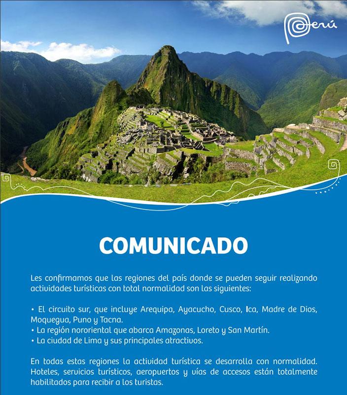Comunicado PromPerú Machu Picchu