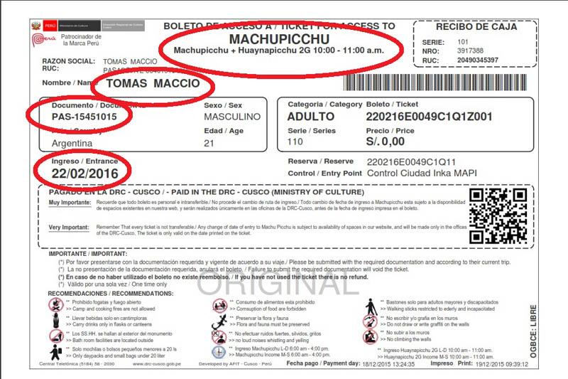 Datos de boleto Machu Picchu