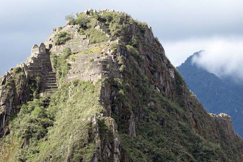 Aerial view of the top of Huayna Picchu