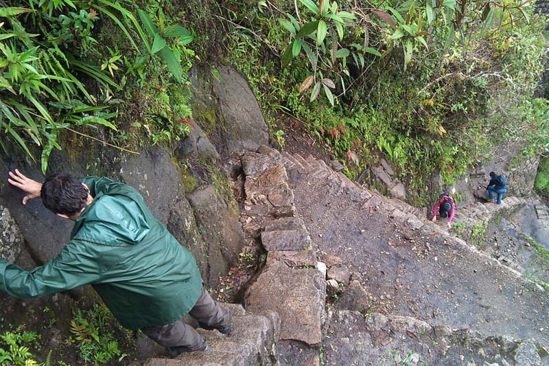 The stairs of death in Huayna Picchu