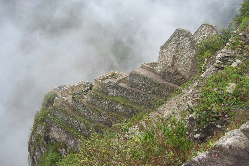 View of the Inca viewpoints from the top of Huayna Picchu