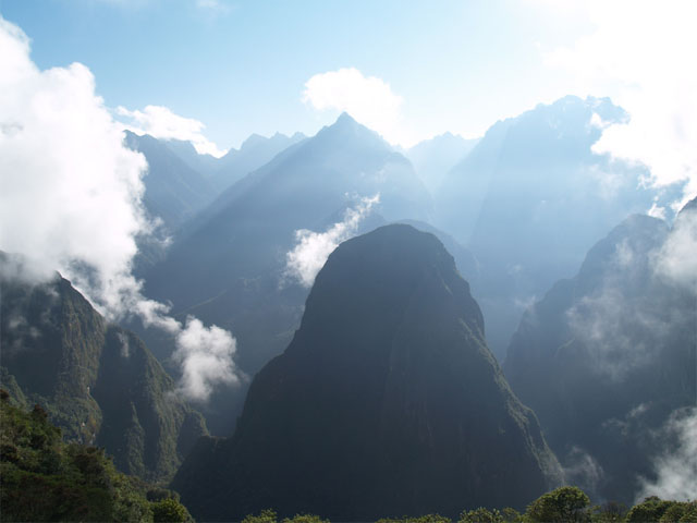 Sunrise in the mountains of Machu Picchu