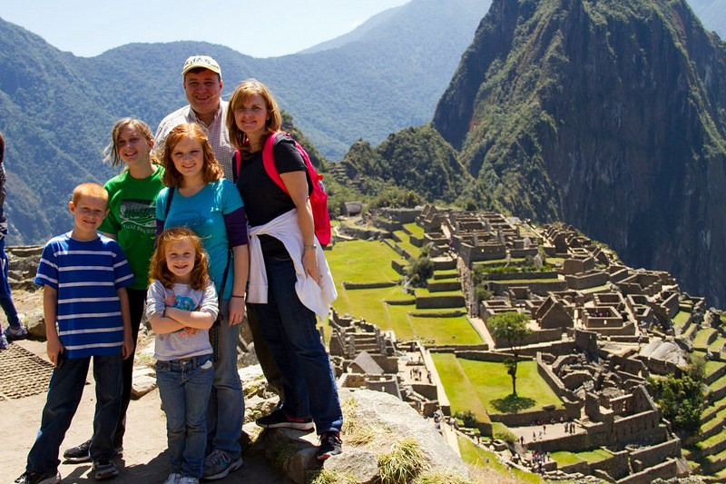 group of children in machu picchu