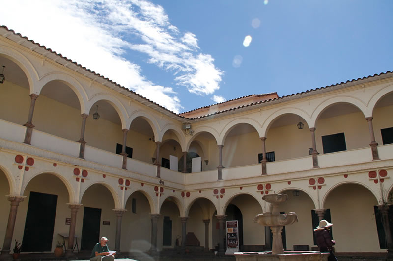 Main Courtyard of the Inca Museum in the City of Cusco
