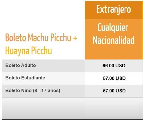 Precios Boleto Machu Picchu + Huayna Picchu