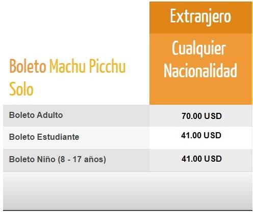 Precios Boleto Machu Picchu Solo