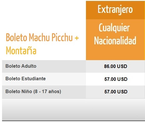Precios Boleto Machu Picchu + Montaña