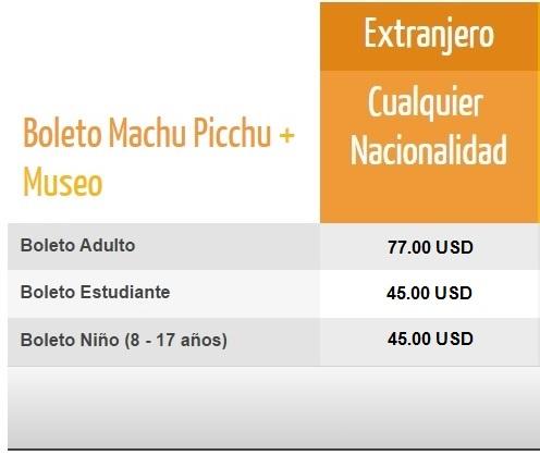 Precios Boleto Machu Picchu + Museo