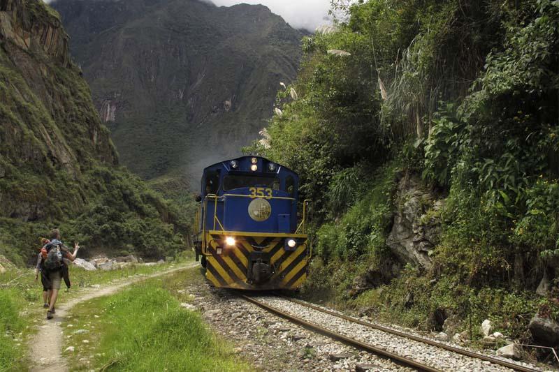 Caminantes y tren a Machu Picchu