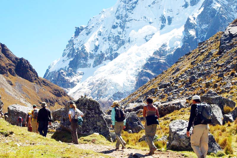 Tourists taking the Salkantay trek
