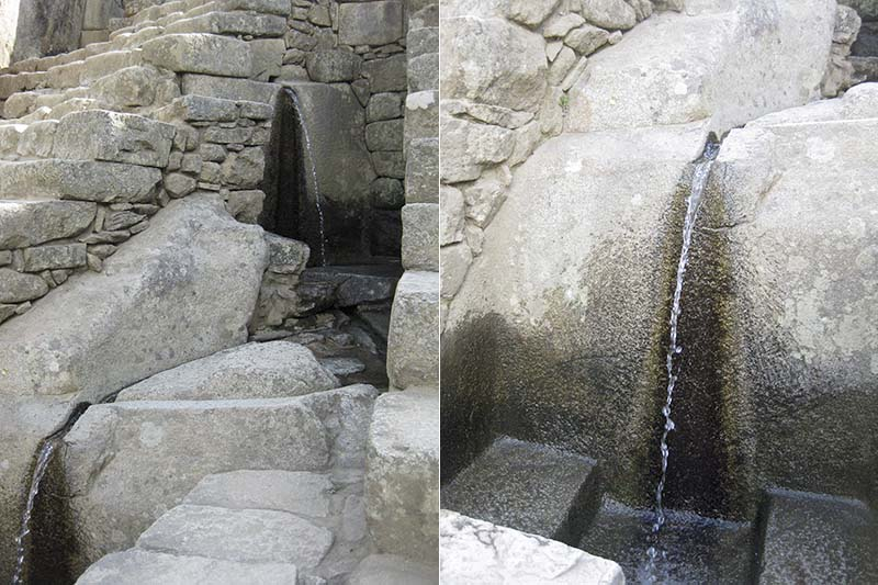 Canales de agua en Machu Picchu