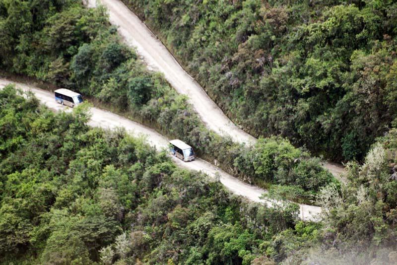 Buses going up the Hiram Bingham road towards Machu Picchu