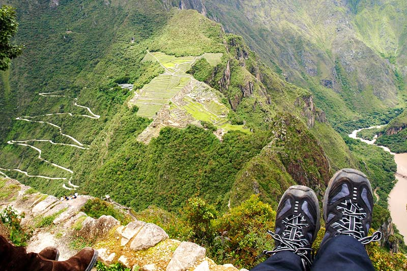 View of Machu Picchu from the top of the mountain Huayna Picchu