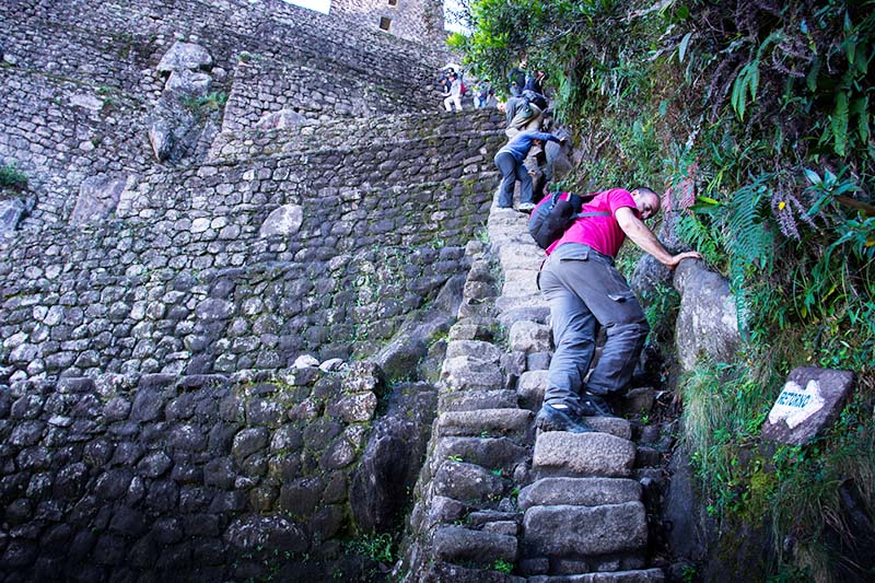 Death stairs in the ascent to the mountain Huayna Picchu