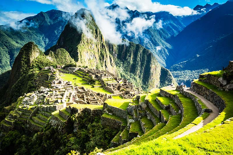 Inca city of Machu Picchu built on top of a mountain
