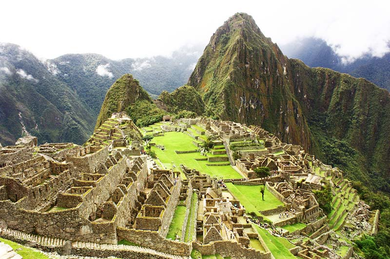View of Machu Picchu during rainy season
