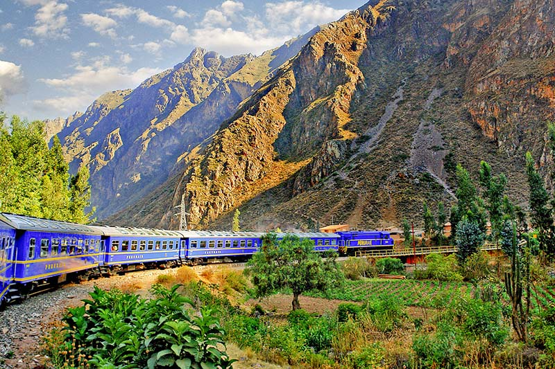 Peru Rail train heading to Machu Picchu