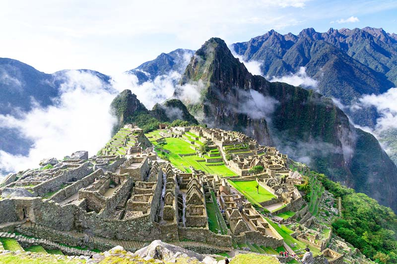 Panoramic view of Machu Picchu in the morning shift