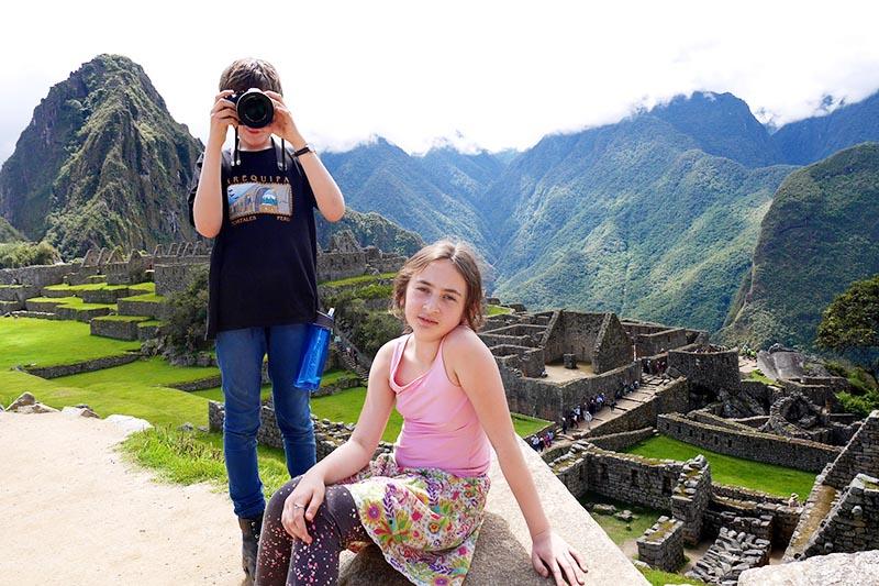 Children enjoying Machu Picchu