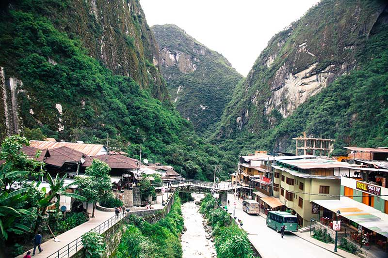 Vista general del pueblo de Aguas Calientes