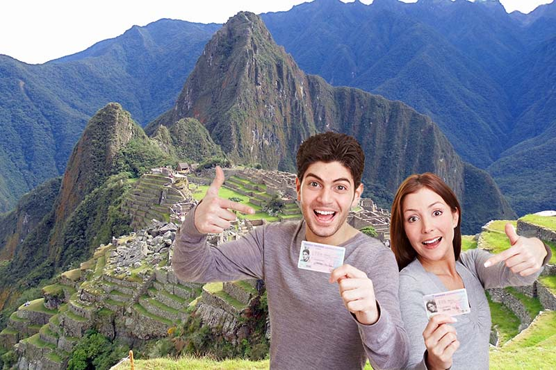 Universitätsstudenten in Machu Picchu
