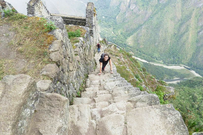 The stairs of death in the Huayna Picchu Mountain