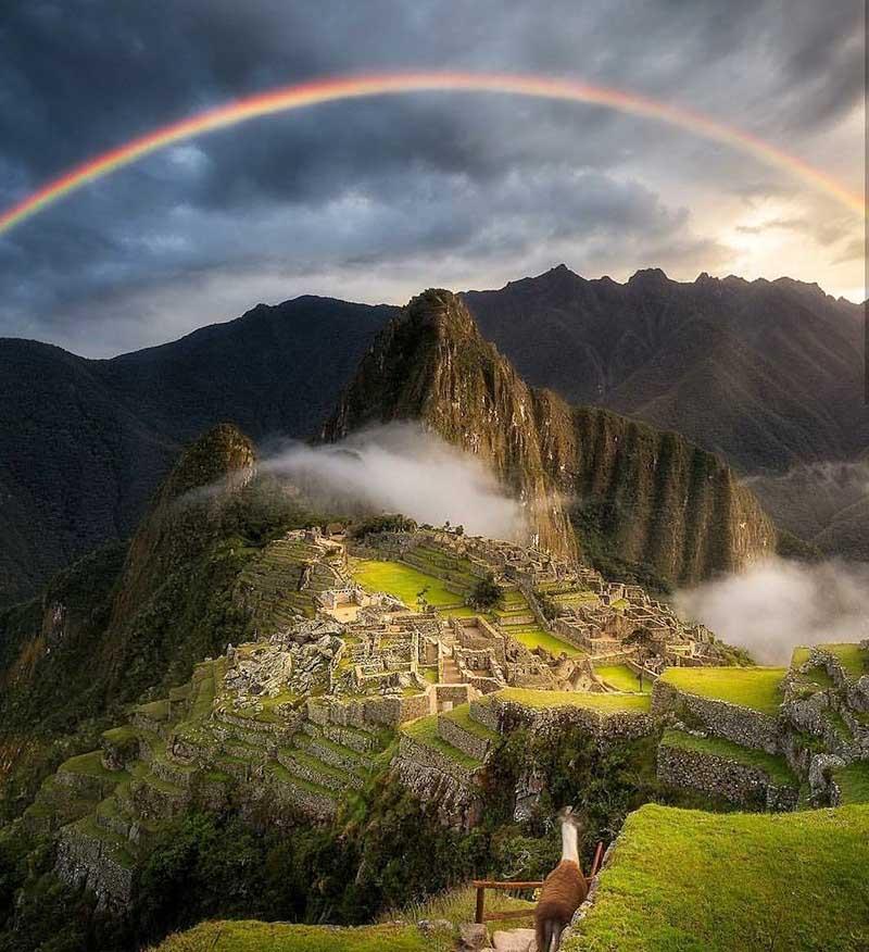 Fotografía de la BBC arcoíris en Machu Picchu