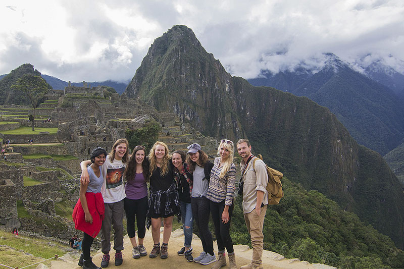 Students enjoying Machu Picchu
