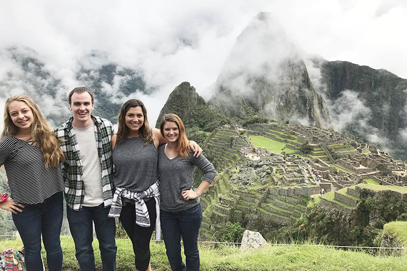 Friends visiting Machu Picchu