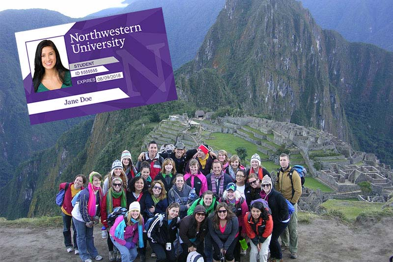 Students visiting the Inca city of Machu Picchu