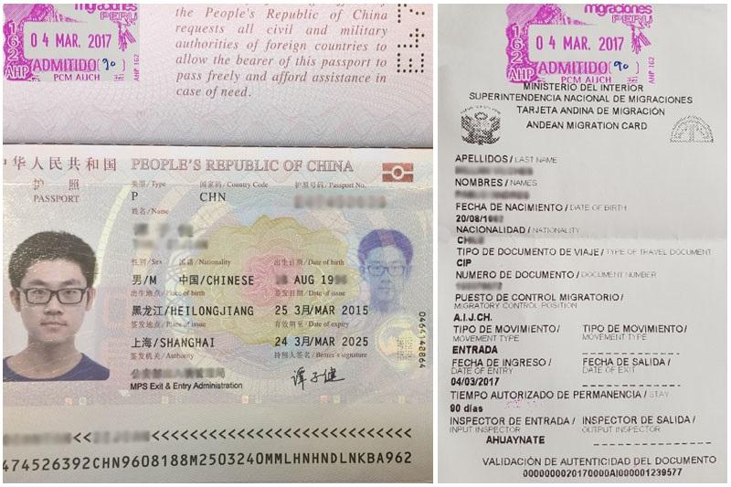 Documento de identificación (pasaporte) y Tarjeta Andina de Migraciones (TAM)