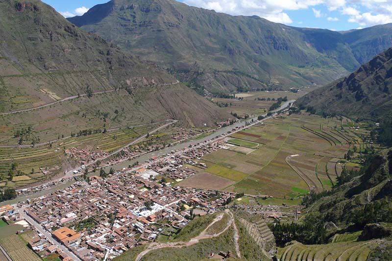 Vista del pueblo de Pisac