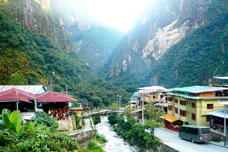 Vista do povo de Aguas Calientes