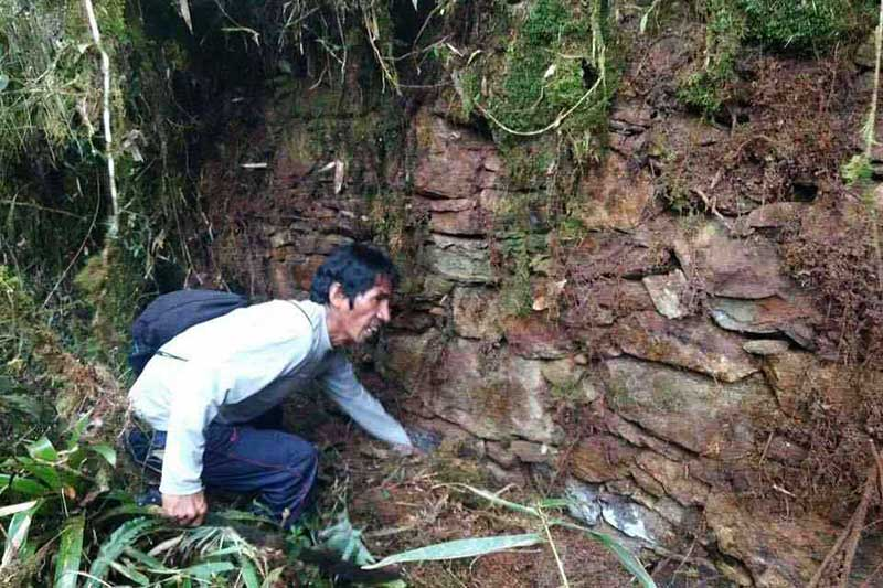 Muro descubierto en la ciudad prehispánica