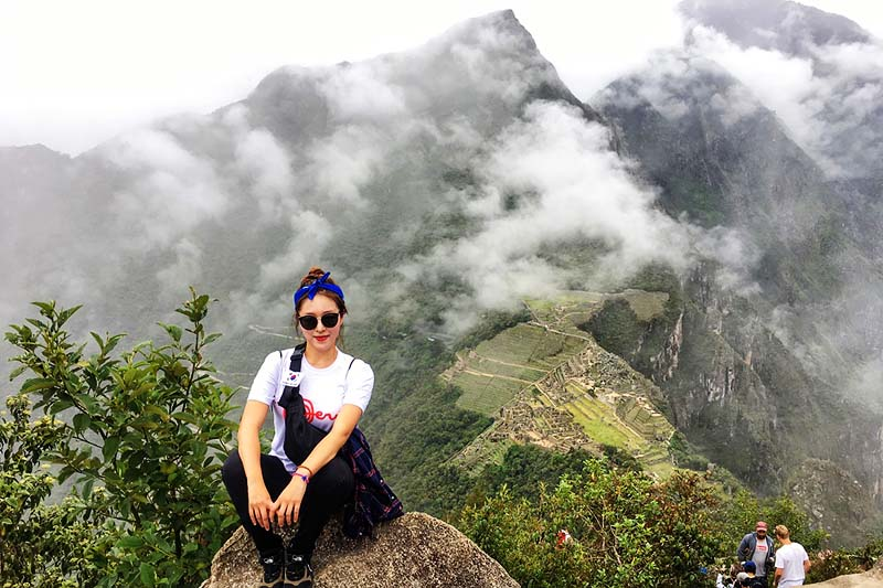 Tourist in Wayna Picchu