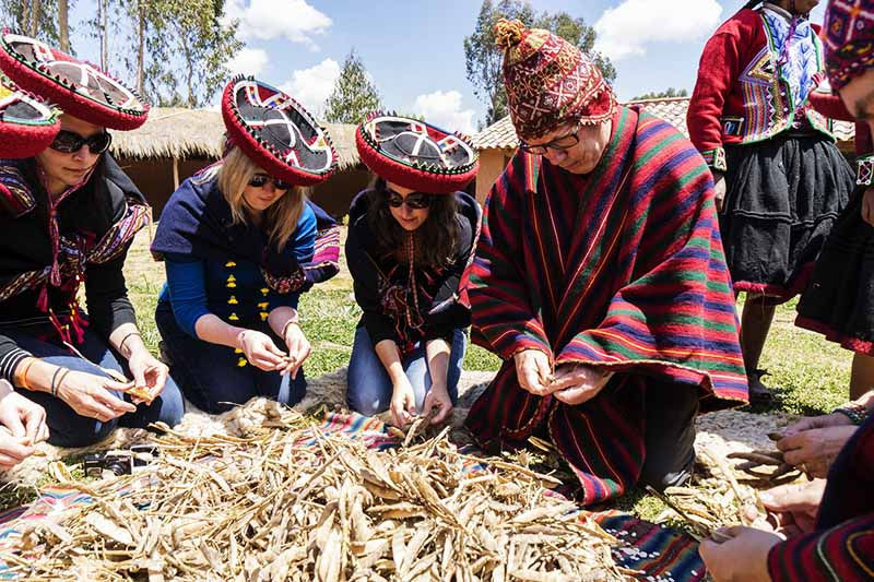 Group of tourists doing experiential tourism in Cusco