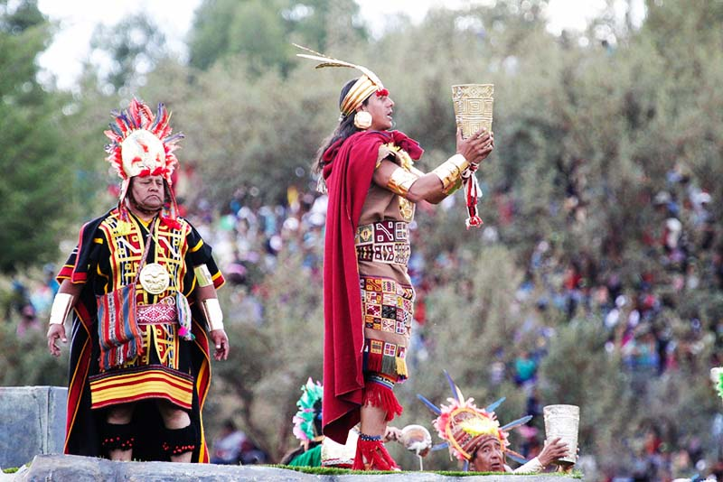 The Inca celebrating the Inti Raymi party in Cusco