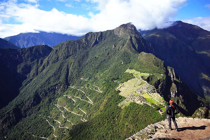 View of the Inca city of Machu Picchu and Machu Picchu mountain