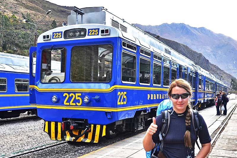 Tourist at the train station to Machu Picchu