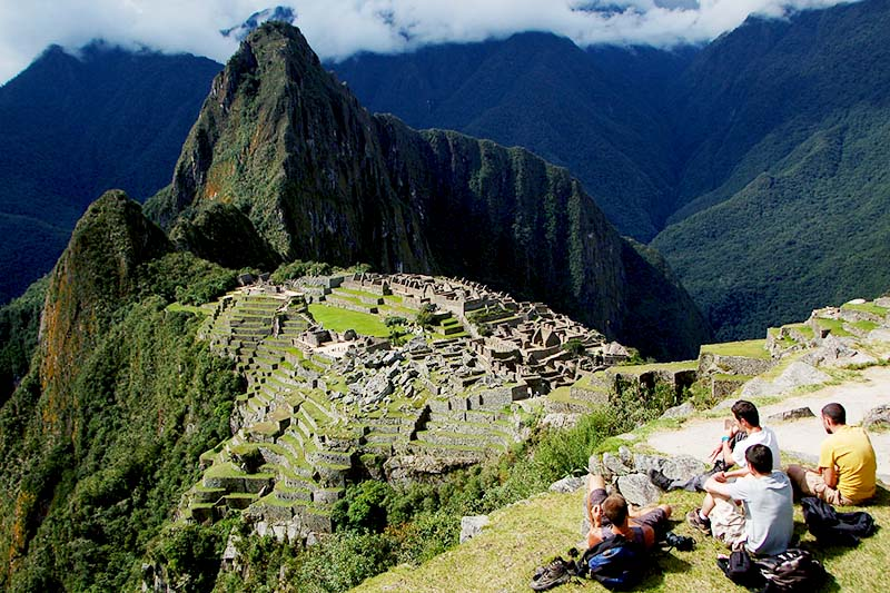 Tourists resting in Machu Picchu
