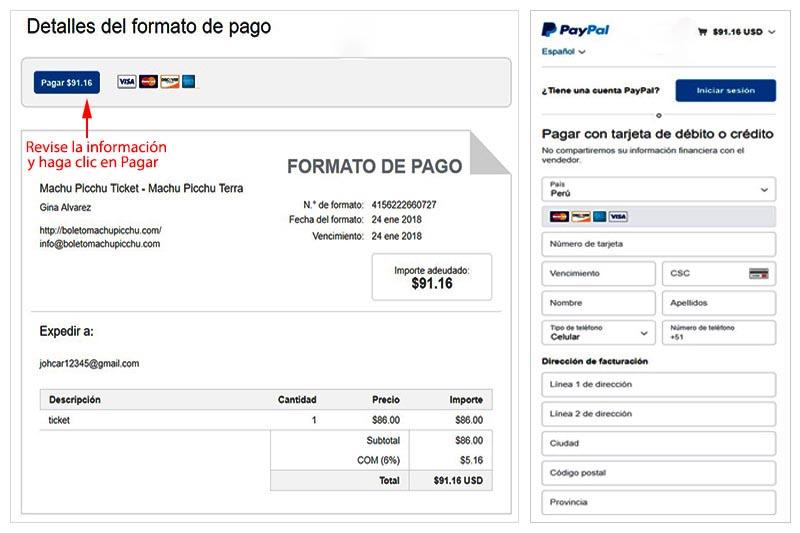 Factura Paypal boleto Machu Picchu