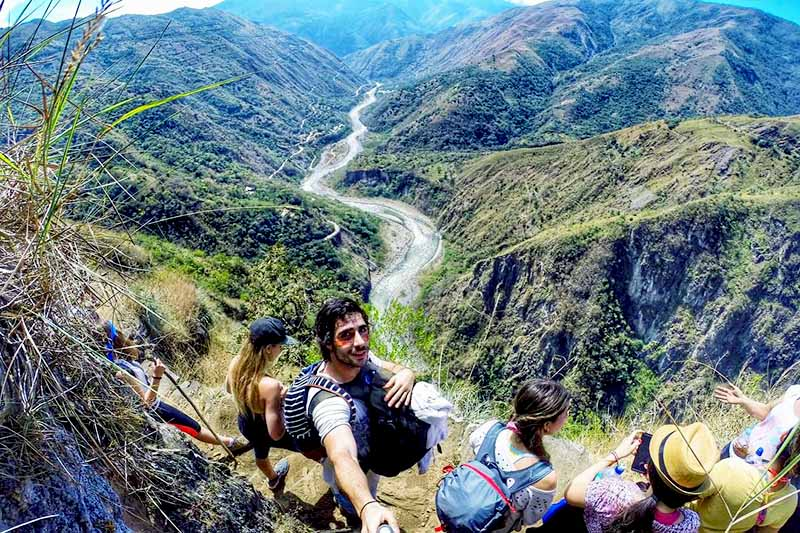 Tourists doing the Inca Jungle