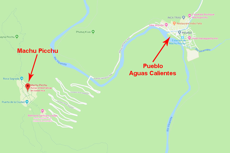 Location of Machu Picchu in Aguas Calientes