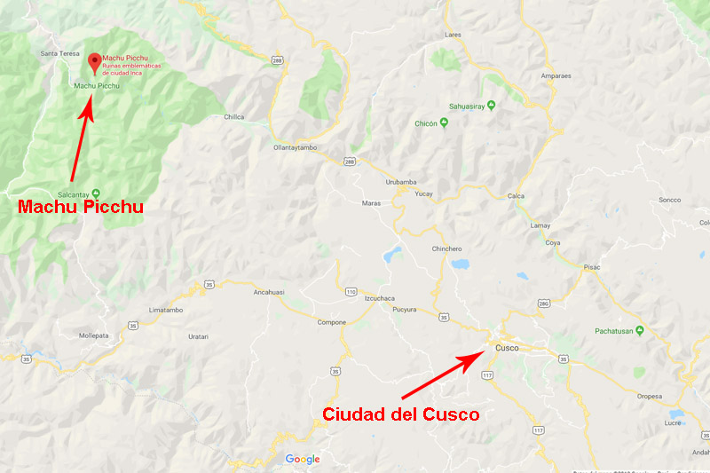 Location of Machu Picchu in Peru