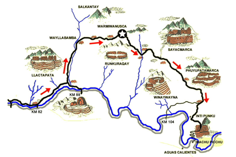 Mapa del Camino Inca a Machu Picchu