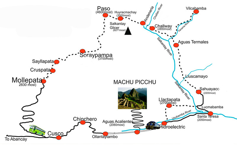 Mapa do Salkantay Trek para Machu Picchu